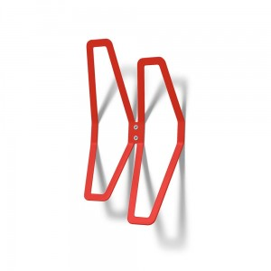 DESIGN Wall Hanger 26 cm Double, Red Wall-Mounted Clothes Hanger, Office Hanger, Hanger for Wall Mounting