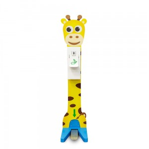 Hand Sanitizer Station for Children - a Coloured Foot Disinfectant Dispenser With a Giraffe Pattern Stand
