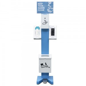Foot Operated Hand Sanitizer Station - Foot-Operated Dispenser With a Stand, 1.8L Tank, Garbage Bin and Shelves for Accessories