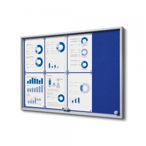 SLIM 8xA4 Felt Display Cabinet 88x61 cm, Blue, with Sliding Doors, Locked with a Key for Internal Use, Internal Display, Advertising Display, Information Display, Notice Board, Information Board