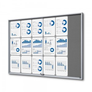 SLIM 18xA4 Felt Display Cabinet 132x92 cm, Gray, with Sliding Doors, Locked with a Key for Internal Use, Internal Display, Advertising Display, Information Display, Notice Board, Information Board