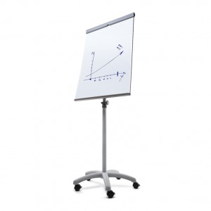 SCRITTO® Vario Magnetic Flipchart 68 x 100 cm, Stand with a Magnetic Dry-wipe Board, Mobile Flipchart, Stand with a Writing Board on Wheels with Adjustable Height