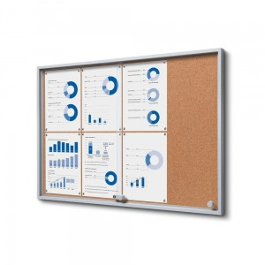 SLIM 8xA4 Cork Display Cabinet 88x61 cm with Sliding Doors Closed with a Key for Internal Use, Internal Display, Advertising Display, Information Display Notice Board, Information Board
