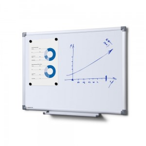 SCRITTO® Economy Magnetic Dry-Wipe Board 60 x 45 cm  White Magnetic Dry-Wipe Board for School or Office for Writing with a Marker Pen or a Felt-tip Pen